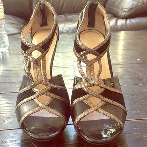 Elie Tahari Black and Silver Heels